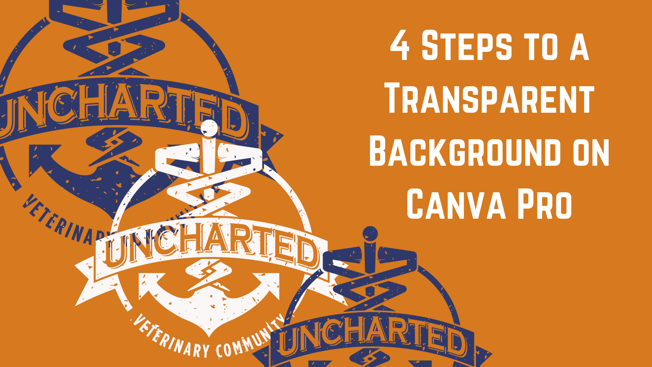 Image of Uncharted Veterinary Conmmunity logos, Text - 4 Steps to a Transparent Background on Canva Pro