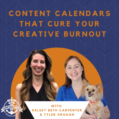 """Photo of Tyler Grogan and Kelsey Carpenter with text """"Content Calendars that cure your creative burnout"""""""